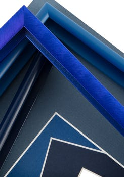 Blue toned frames and mat boards