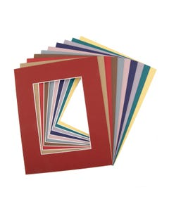 """Assorted Color Mat Board (8"""" x 10"""" with 4 1/2"""" x 6 1/2"""" Opening)"""